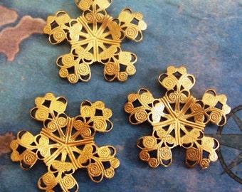 2 PC Raw Brass Rococo Filigree - Floral Jewelry Finding - ZNE M0287