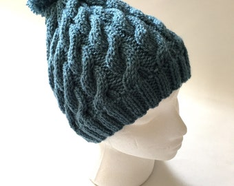 Pom Pom Hat,Hand knitted hat cable and grey Hat Ski hat