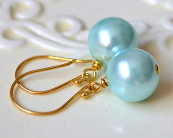 Aqua Earrings, Gold Vermeil Hook Earwires, Dangle Earrings, Glass Pearl, Fun Bold, Something Blue, Bridal Jewelry