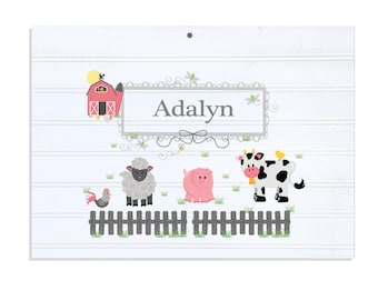Personalized White Vintage Childrens Room Sign Barnyard Friends Pastel-WRS-230b
