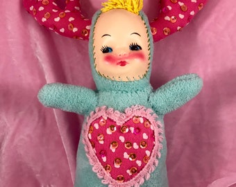 Plush Doll Face Deer Antler Art Doll Plastic Face Baby Doll Sequin Stuffed Vintage Style  Toy Soft Sculpture Kitschy