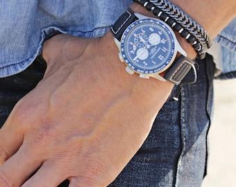 Gunmetal bracelet for men - Men's Jewelry - Thick, adjustable geometric bracelet - Gifts for him - Layering Bracelet - Stacking bracelet