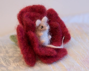 Needle Felted Baby Mouse in a Red Flower - ornament, decoration, wool, felt, nature, wildlife, rose