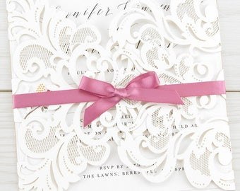 SAMPLE * Iris Laser Cut Wedding Invitation with Country Bloom Artwork