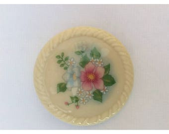 Vintage AVON Ceramic Floral Cream Brooch