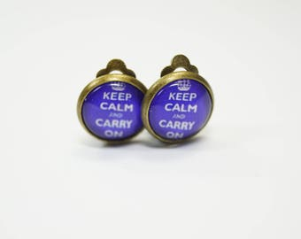 Earclips Keep Caln and carry on blue