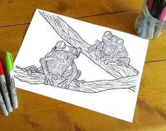 Adult Zentangle Coloring Sheet Tree Frog