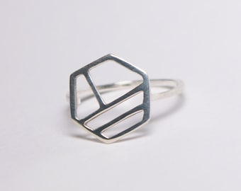 Sterling Silver Linear Hexagonal Ring - Modern Minimal Geometric Design - Hex Shape with Stripes - Simple Everyday Jewelry