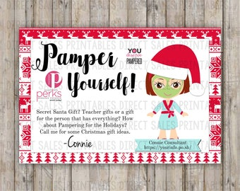 Christmas Perfectly Posh Inspired Pamper Yourself Card Spa Girls Gift Bag Tag Sample Card 4x6