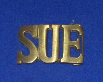 Vintage 1980's SUE SOLID BRASS Name Belt Buckle Susan