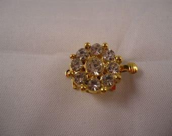 Round clasp flower gold 9 rhinestones