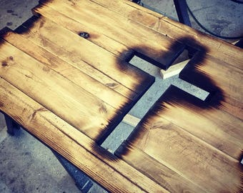 burnt cross wall decor