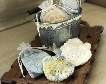 100% Cotton crocheted facial scrubbie