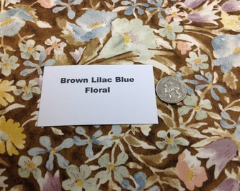 Brown Blue Lilac Floral Fabric - 2 Yards