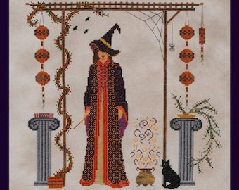 """Halloween Cross Stitch Instant Download Pattern """"Something Wicked"""" Counted Embroidery Chart Witch Design Hallows Eve Cauldron Cat X Stitch"""