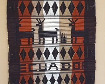 Vintage/ Ethnic /Woven Tapestry/ Wall Hanging /Textile Art/ Home Decor/ Ecuador /Antlers/Boho