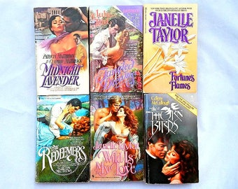 Set of Six Vintage Paperback Romance Novels Books Various Authors
