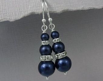 Dark Blue Earrings, Navy Earrings, Navy Wedding Earrings, Something Blue, Bridesmaid Earrings Blue, Wedding Earrings, Dark Blue Wedding