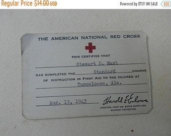 Spring Sale Original WW2 US American Cross ID Card 1943