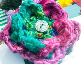 Crochet Brooch in Multicolours