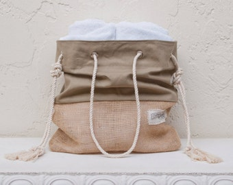 Khaki Burlap Bottom Beach Bag Jute Tote The Sandbag