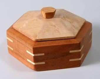 Wood Hexangle Box | Maple and Cherry box | Jewelry box | Valet box