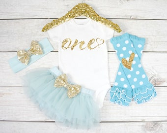 First Birthday Outfit, Baby Girl 1st Birthday Oufit, 1st Birthday Girl, Cake Smash Outfit, 1st Birthday Girl, One (S9) (1BD) (AQUA)