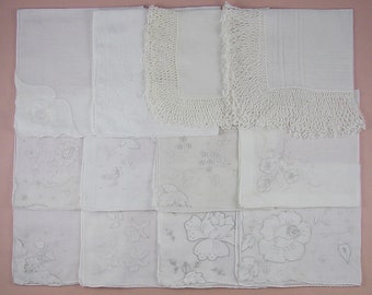 Vintage Hanky Lot,Wedding Hanky Lot,One Dozen White Wedding Vintage Hankies Handkerchiefs (Lot #87)