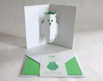 Pop-up Card // Owl Fresh Green // Creative Stationery, Everyday Gift Card, Birthday Card, Greeting Card, Decorative Card