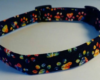 Dog Collar Multi Colored Paws