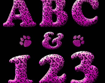 Animal Print Digital Alphabet Clipart Printable Hot Pink Leopard Spots Letters Numbers Punctuation Neon Black