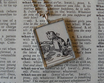 Cats having Tea- vintage children's book illustrations -  2-sided hand soldered glass pendant - includes choice of necklace or bookmark