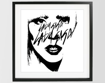 Lady Gaga Poster, Printable Art, Black White Print, Music Print, Vogue Print, Pop Art, Lady Gaga, Prada, Vogue, Wall Decor, Prada,Pop Poster