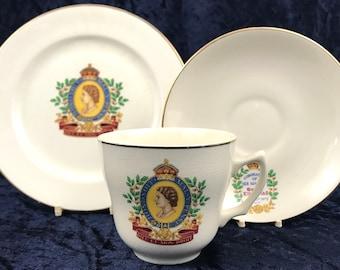 Vintage Tea Trio, Cup Saucer Plate, Mid Century Wade, 1953 Coronation, Commemorative Trio, Queen Elizabeth II, Unique Decor, Display Trio