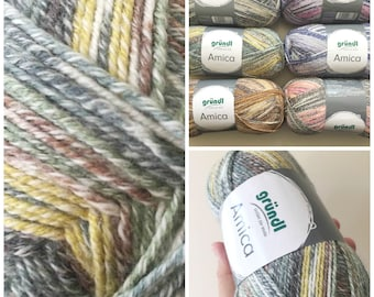 Cotton summer yarn Amica from Gründl green yellow brown grey and white colours for needle size 3.5 - 4.5 100g per ball 300 meter