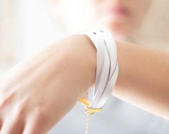White leather bracelet, wrap bracelet, Cuff bracelet, Gift for her, Boho Bracelet, leather jewelry