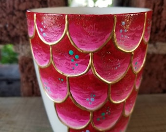 Red Mermaid Scale Coffee Mug with Gold Accent//Mermaid Mug//Gift for Her//Mermaid Gift//Gift under 25//Ocean Theme