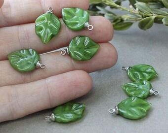 Lampwork Leaves, 5 pcs Leaf Beads, Lampwork Glass Beads, Handmade Beads, Lampwork Beads, Lampwork Leaves Beads, Leaf Lampwork