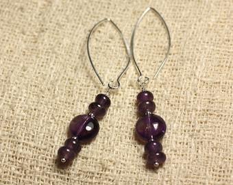 Earrings Silver 925 hooks 40mm - Amethyst beads 10mm