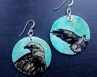Golden Eagle - Hand-Painted metallic green Disc earrings - Philadelphia Eagles