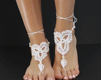Crochet Lace Up Barefoot Sandal with Freshwater Pearls/ Beach Wedding
