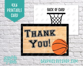 Digital 4x6 Basketball Court Thank You Card, Folded & Postcard | High Res 300dpi JPG Files, Instant Download, NOT Editable, Ready to Print