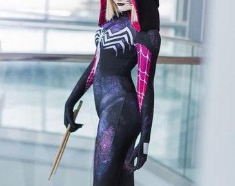 Spiderman Female Gwenom Costume Zentai and Cosplay Spider Suit for Halloween
