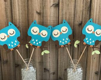 Turquoise Owls Centerpiece, set of 4