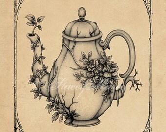 Overgrown Teapot - Fine Art Illustration - print