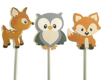 Double sided woodland theme cake toppers - set of 3 woodland animals, forest friends, nature theme
