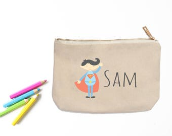 Superman Personalized Pencil Pouch // Custom Personalized Kids Super Hero Superman School Pencil Bag // Pencil Case