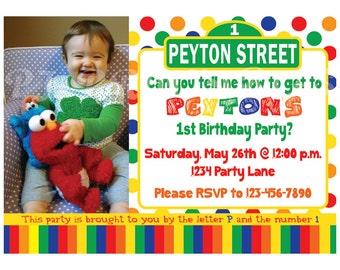 Sesame Street Birthday Invitation, Primary Colors - Custom Digital File