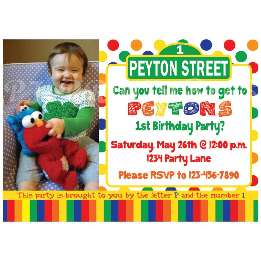 Sesame street birthday invitation primary colors custom zoom pronofoot35fo Choice Image
