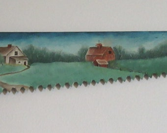 Oil Painting Vintage Hand Saw Hand Painted Country Scene  in Blue Unique Gift Idea Beautiful Addition to any Wall in Your Country Home Gift